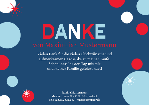 Dankeskarte Taufe Bubble Blau 1