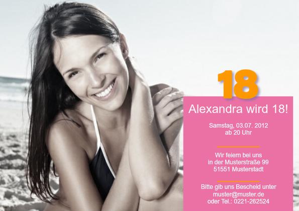 einladungskarte 18. geburtstag alexa, Einladungsentwurf