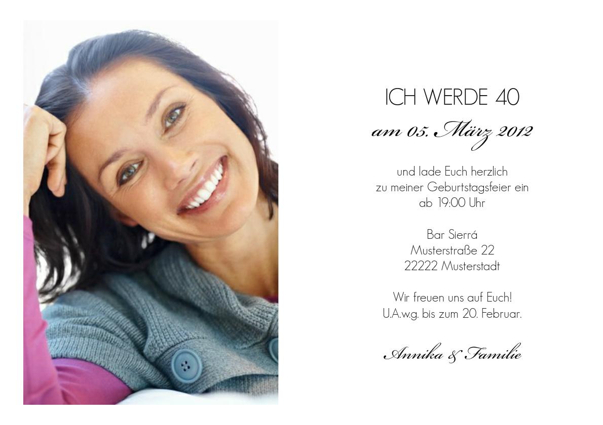 einladung 40. geburtstag elizabeth, Einladung