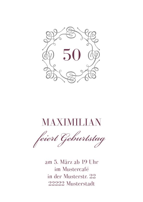 Einladung 50 Geburtstag Bianco