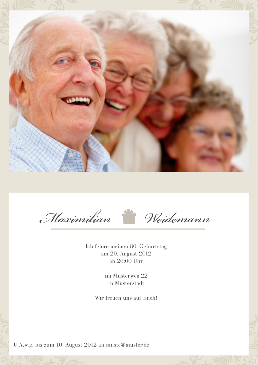 einladung 80. geburtstag creme, Einladung
