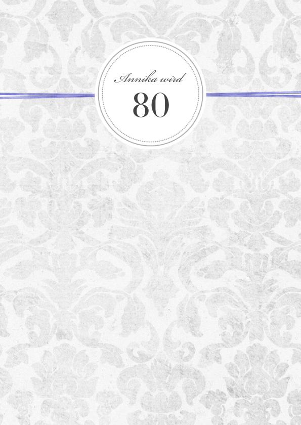 Einladung 80 Geburtstag Lila Grey