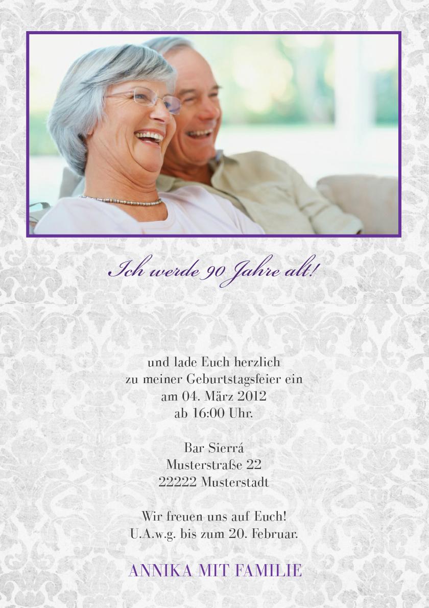Einladung 90 Geburtstag Lila Grey