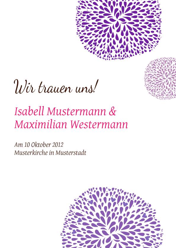 Einladung Hochzeit Flowers Lila   FamBooks.net