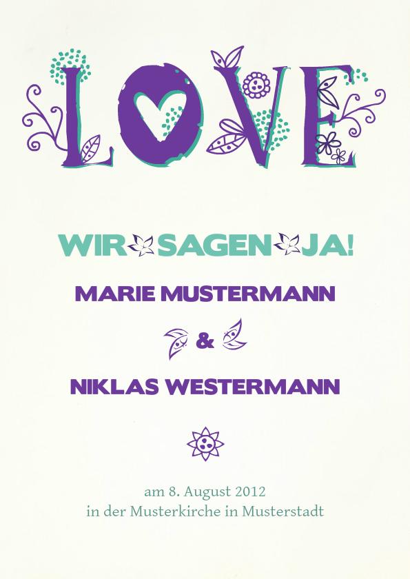 Einladung Hochzeit Lila Love   FamBooks.net