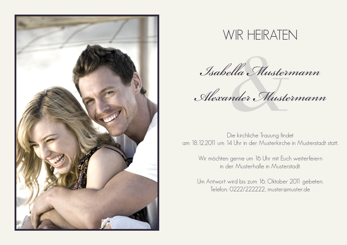 Einladung Hochzeit Marlene - Einladung Hochzeit - Zur Hochzeit ...