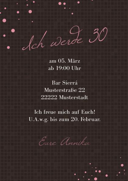 Außergewöhnlich Einladungskarte 30. Geburtstag Brynn 2, Einladung