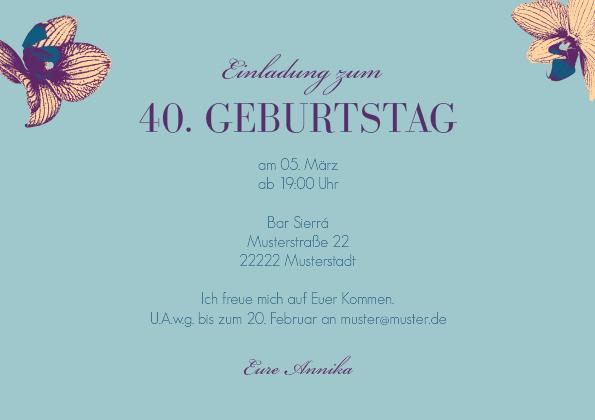 Einladungskarten 90 Geburtstag Selbst Gestalten Kostenlos: Einladungskarte 40. Geburtstag Fynn 1