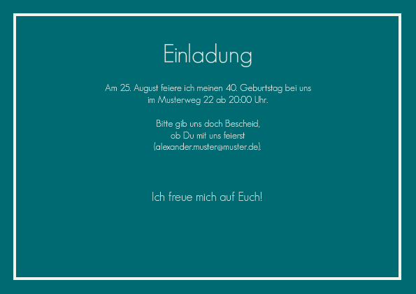 Einladungskarte 40. Geburtstag Leonore 1