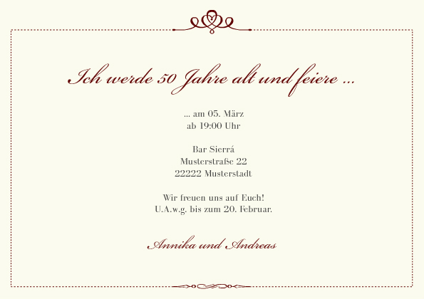 einladungskarte 50. geburtstag royal, Einladungsentwurf