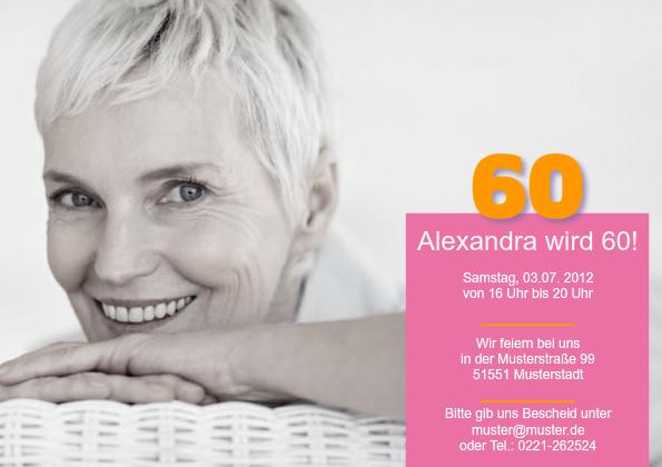 einladungskarte 60. geburtstag alexa, Einladung