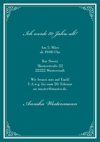 einladungskarte 80. geburtstag leonore, Einladungsentwurf