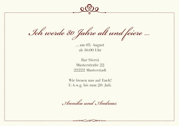 einladungskarte 80. geburtstag royal, Einladungsentwurf