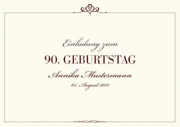 Einladungskarte 90. Geburtstag Royal | FamBooks.net