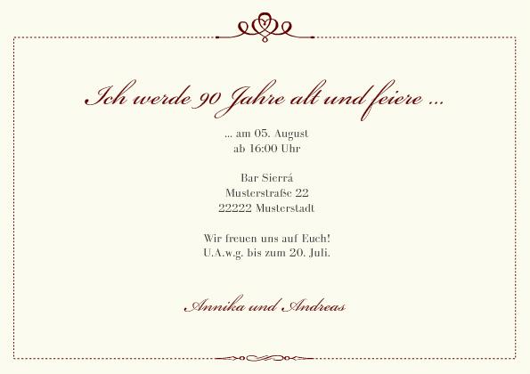 einladungskarte 90 geburtstag royal. Black Bedroom Furniture Sets. Home Design Ideas