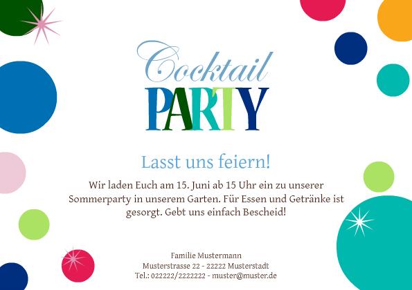 Einladung Cocktailparty Colored Balls, Einladungsentwurf