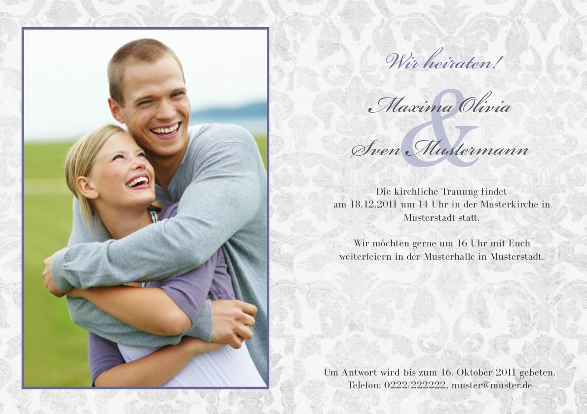 Einladung Hochzeit Lila Grey   FamBooks.net