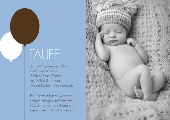 Karte Taufe Einladung.Einladungskarte Taufe Balloon Blue