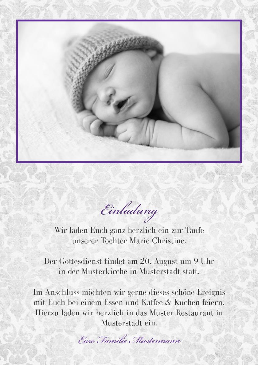 Einladung Taufe Lila Grey - Taufe Einladungskarte
