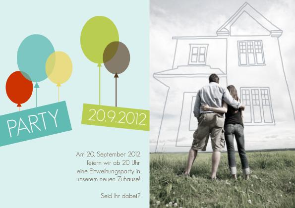 einladung einweihung balloons, Einladungen