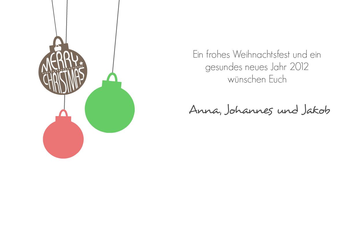 weihnachtskarte merry christmas kugel. Black Bedroom Furniture Sets. Home Design Ideas