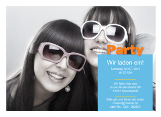 Einladungskarte Party (Postkarten DIN A5 quer)