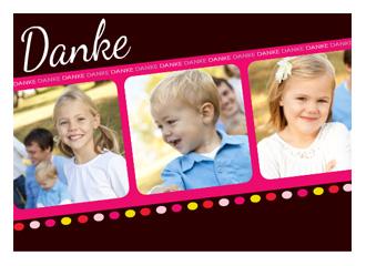 Dankeskarte Pünktchen Pink (Postkarten DIN A6 q...