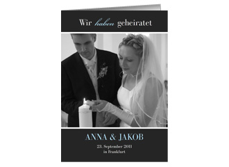 Hochzeit Danksagung Black Bluish 1 (Klappkarten...