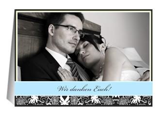 Danksagungskarte Hochzeit Black Bluish 3 (Klapp...