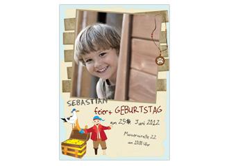 Einladung Kindergeburtstag Pirat Mats (Postkart...
