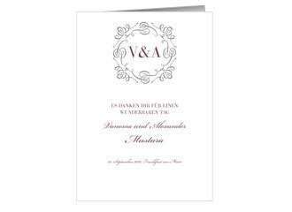 Danksagungskarte Hochzeit Bianco (Klappkarten D...