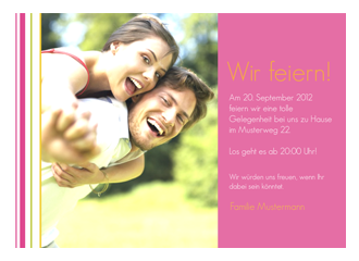 Einladungskarte Rosalee (Postkarten DIN A5 quer)