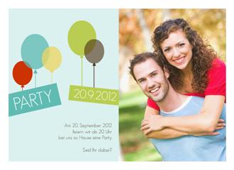 Einladungskarte Balloons (Postkarten DIN A6 quer)