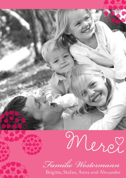 Dankeskarte Pink Hearts (Postkarten DIN A6 hoch)