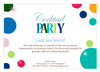 Einladung Cocktailparty Colored Balls (Postkart...