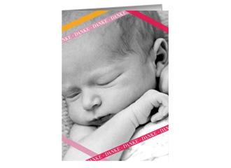 Danksagung Taufe Pink Stipes (Klappkarten DIN A...