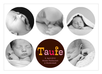 Menükarte Taufe Brown Circles (Postkarten DIN A...