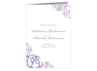 Einladung Hochzeit Blaue Blumen (Klappkarten DI...