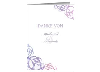Danksagungskarte Hochzeit Blaue Blumen (Klappka...