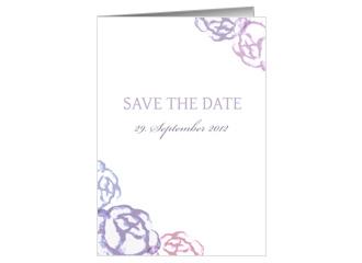 Save the Date Blaue Blumen (Klappkarten DIN A5 ...