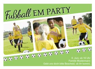 Einladung EM Party Bälle (Postkarten DIN A5 quer)