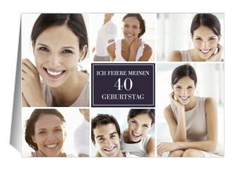 Einladung 40. Geburtstag Lilia (Klappkarten DIN A5 quer)