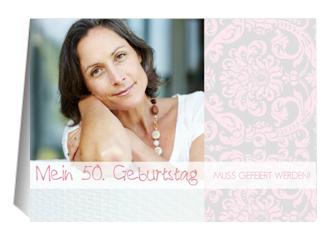 Einladung 50. Geburtstag Freya 1 (Klappkarten DIN A6 quer)