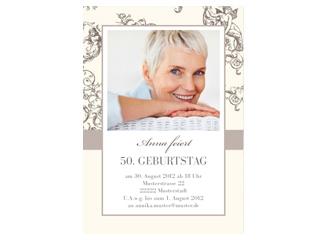 Einladungskarte 50. Geburtstag Jugendstil (Post...