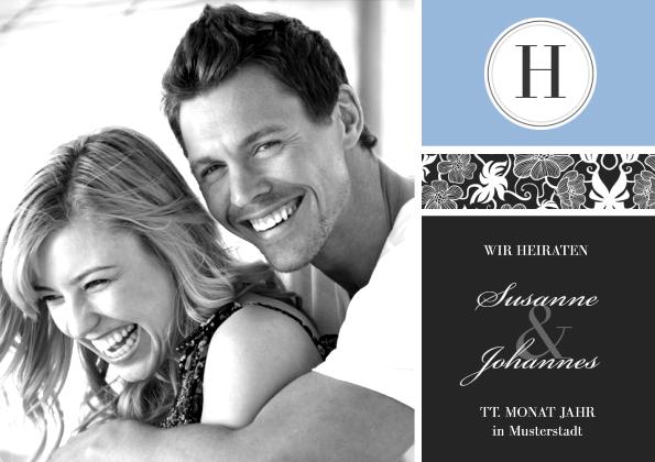 Einladungskarte Hochzeit Black Bluish 2 (Postka...