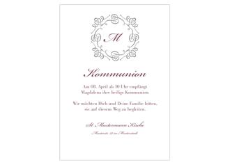Einladungskarte Kommunion Bianco
