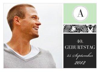 Einladungskarte 40. Geburtstag Green Blush