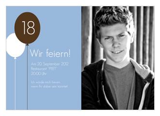 Einladungskarte 18 Geburtstag Balloon