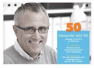 Einladungskarte 50. Geburtstag Alex