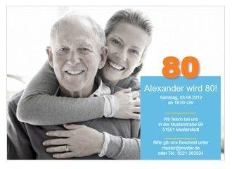 Einladungskarte 80. Geburtstag Alex